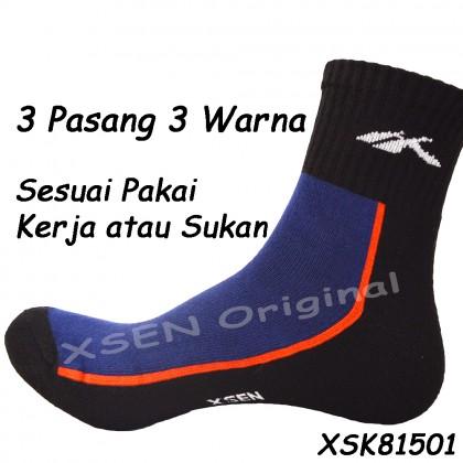 Sport Bamboo Charcoal Deodorant Sock (Sarung Kaki Anti-Bau Sukan) Unisex With Insole Cushion Xsen XSK81501